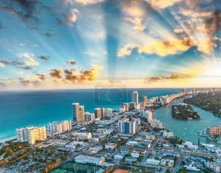 Miami Beach buildings and canals, aerial sunset view