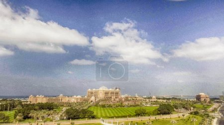 Aerial view of Emirates Palace and gardens