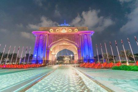 Night view of the Emirates Palace entrance door, Abu Dhabi - UAE