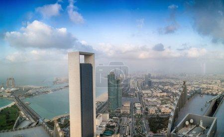 Panoramic sunset skyline of Abu Dhabi
