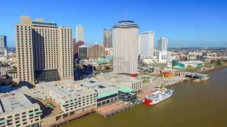 NEW ORLEANS, LA - FEBRUARY 2016: Aerial city view. New Orleans a