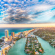 Aerial view of Miami Beach at sunset....