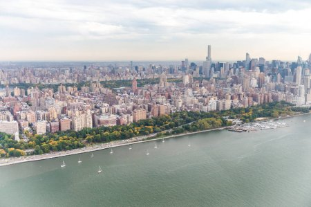 Helicopter view of New York City along Hudson river