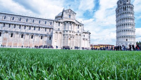 Pisa, Miracles Square. Beautiful view from grass level