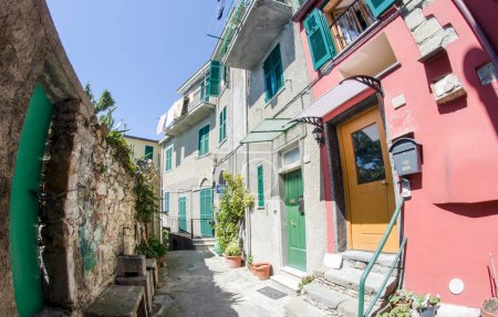 Beautiful colorful Homes of Corniglia in Cinque Terre Park - Ita