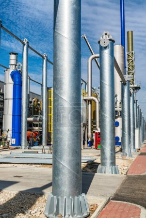 Metal columns in industrial construction plant