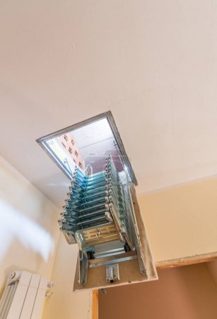 Folding staircase to attic room