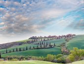 Windy road on a Tuscany hill with cypresses