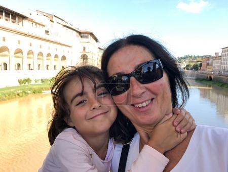 Family enjoying visit to Italy