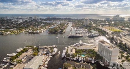 Fort Lauderdale coastline and canals aerial view, Florida - USA