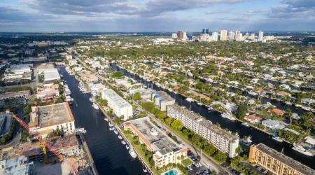 Fort Lauderdale skyline and canals aerial view, Florida - USA