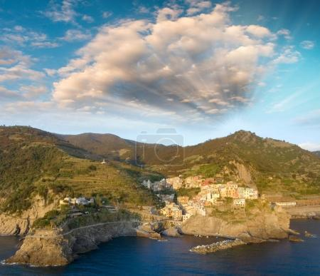 Beautiful aerial view of Manarola from helicopter - Five Lands,