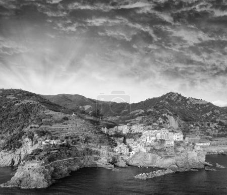 Black and white aerial view of Manarola skyline, Five Lands - It