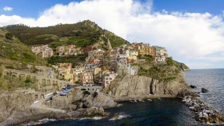 Aerial view of Manarola. Five Lands from the sky, Italy