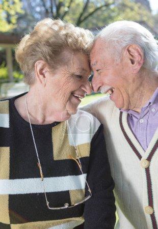 Elderly couple in the garden