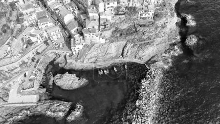 Cinque Terre Overhead view, Italy - Five Lands from the sky, Lig
