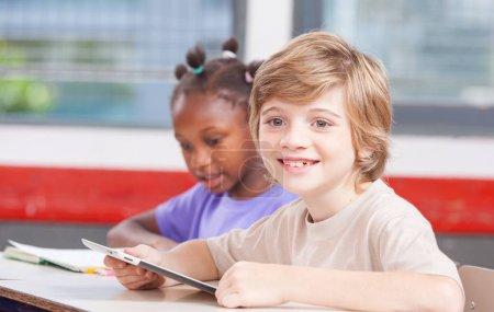 Caucasian male child at primary school