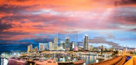 Amazing sunset over Downtown Miami. Panoramic view from Port Bou