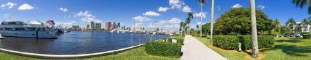 Panoramic view of Palm Beach dockand city skyline, Florida