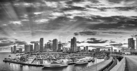 Black and white view of Downtown Miami. Panoramic shot from Port