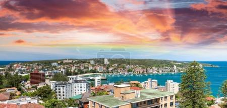 Sunset over Manly coastline, Sydney