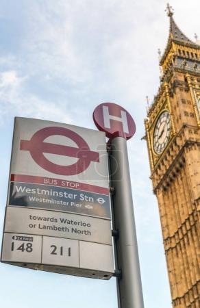 LONDON - MAY 2013: Subway sign near Big Ben Tower. London attrac