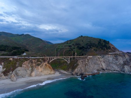 Big Sur, California. Aerial coastline view at sunset.
