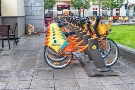 VILNIUS, LITHUANIA - JULY 9, 2017: City bike station near main square. Bike sharing is a good way to visit the city.