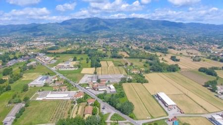 Aerial view of Tuscany countryside, Italy.