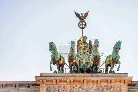 Quadriga sculpture on Brandenburg Gate in Berlin, Germany.