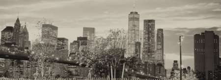 Photo for The Brooklyn Bridge in New York City with Manhattan skyline on background. - Royalty Free Image