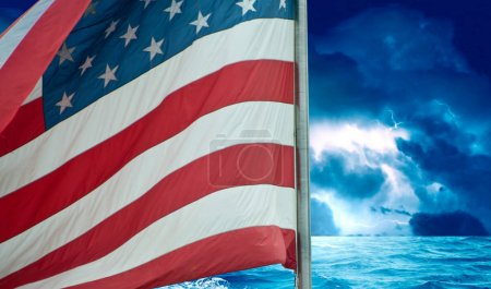 Photo for Storm over American Flag, U.S.A. - Royalty Free Image