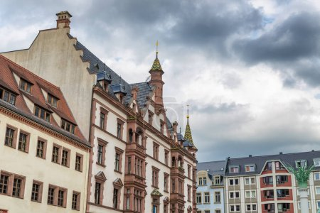 Ancient medieval buildings of Leipzig, Germany.
