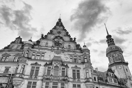 Dresden landmarks in Schlossplatz, Germany.