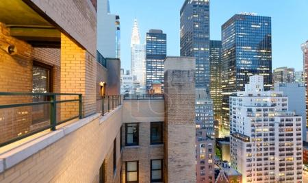 Amazing night aerial skyline of Manhattan, New York City - USA.