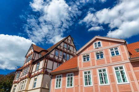 Celle, Germany. Colourful buildings in city center on a sunny day.