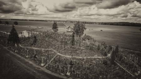 Hill of Crosses, Lithuania. Aerial view from drone