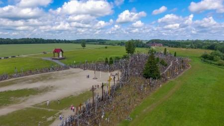 Aerial view of Hill of Crosses in Lithuania