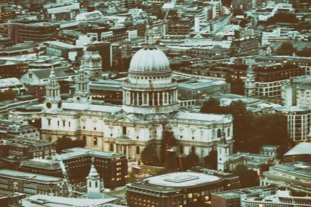 St Paul Cathedral in London at night, aerial view