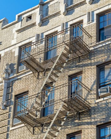 New York City Manhattam building facade with external stairs