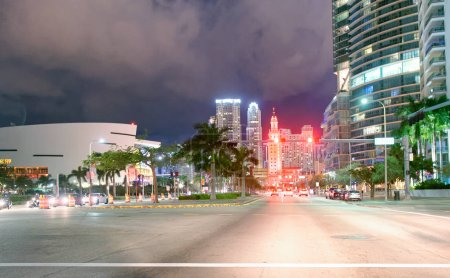 Photo for Street view of Downtown Miami at night, Florida. - Royalty Free Image