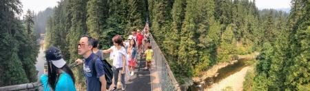 VANCOUVER, CANADA - AUGUST 11, 2017: Tourists on Capilano Suspension Bridge. It is a major atttraction in Vancouver area.