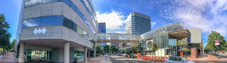 PORTLAND, OR - AUGUST 18, 2017: Panoramic view of city square. Portland attracts 5 million tourists annually.