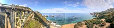 Bixby Bridge, Big Sur. Panoramic view of California coastline in summer season.