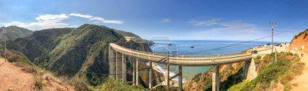 Bixby Bridge, Big Sur. Panoramic view of California coastline in summer season.