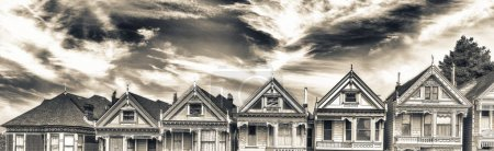 Panoramic view of Painted Ladies in San Francisco at sunset - California.