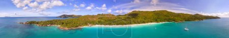 Panoramic aerial view of Anse Lazio from drone vie...