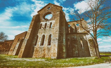 The ancient Abbey of San Galgano, Italy, is a mirable example of romanesque architecture in Tuscany.
