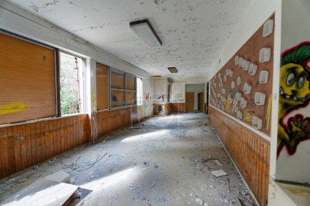 VOLTERRA, ITALY - FEBRUARY 24, 2018: Interior of abandoned asylum. It closed in 1984.