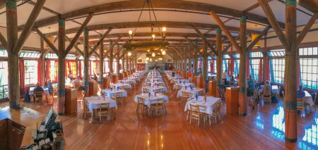 MT RAINIER, WA - AUGUST 17, 2017: Interior of Paradise Inn restaurant. Mt Rainier is a major tourist attraction in Washington State.